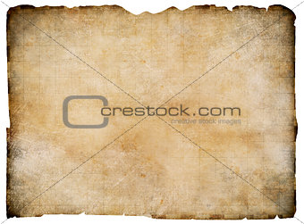 Old blank parchment treasure map isolated. Clipping path is included.
