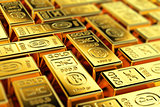 Gold bars with selective focus