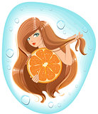 Girl with long hair holds an orange. Template label for packing shampoo