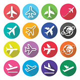 Plane, flight, airport - flat design icons