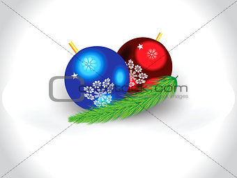 abstract artistic glossy christmas balls with leaf