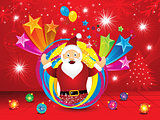 abstract christmas explode background with santa