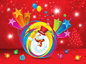 abstract christmas explode background with snow man