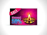 abstract artistic golden diwali on purple background