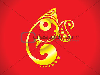 abstract artistic golden ganesha