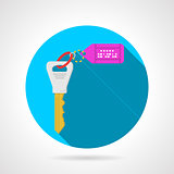 Blue flat vector icon for key with label