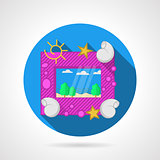 Blue flat vector icon for sea picture frame