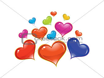 abstract artistic shiny colorful heart background