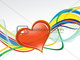 abstract artistic colorful wave background with heart
