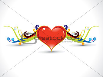 abstract artistic heart with colorful floral