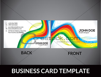 abstract rainbow business card template
