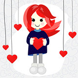 Cute Valentine girl with red hair