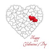 Valentine`s Day card two red and many white hearts