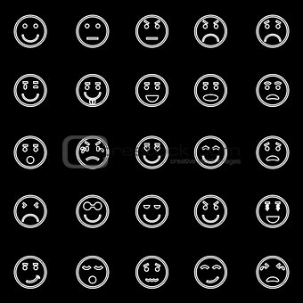 Circle face line icons on black background
