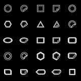 Label line icons on black background