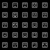 Square face line icons on black background