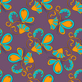 seamless flower with butterfly on violet background