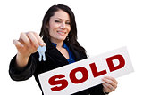 Hispanic Woman Holding Sold Sign and Keys On White