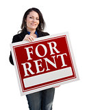 Hispanic Woman Holding For Rent Sign On White