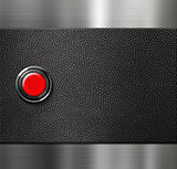 start engine red blank button on black leather and metal background