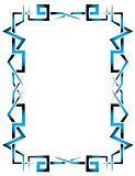 Creative blue and black ornamental frame on a white background