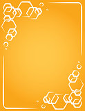 vector frame on yellow background. honeycomb