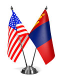 USA and Mongolia - Miniature Flags.