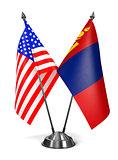 USA and Mongolia - Miniature Flags.