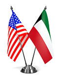 USA and Kuwait - Miniature Flags.