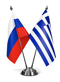 Russia and Greece - Miniature Flags.