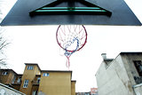 Basketball hoop from below