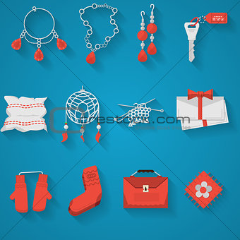 Flat icons vector collection for handmade items
