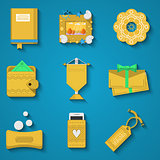 Handicraft items flat vector icons set