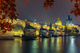 Charles Bridge at night in Prague, Czech Republic