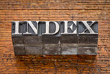 index word in metal type
