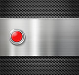 start red button on metal plate background