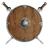 old wooden round shield and two crossed swords isolated