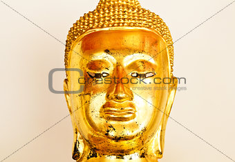Close up image of golden buddha sculpture From Wat Pho Temple, b