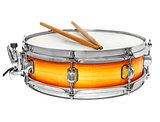 Sunburst snare drum with drumsticks