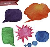 Bright watercolor speech bubbles set