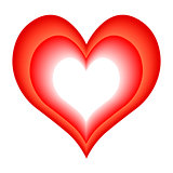vector white and red hearts - symbol of love