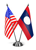 USA and Laos - Miniature Flags.