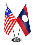 USA and Laos - Miniature Flags.