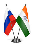Russia and India - Miniature Flags.