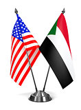 USA and Sudan - Miniature Flags.