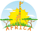 Sunny Giraffe on Background of the African Sun
