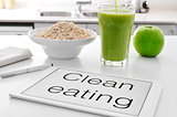 clean eating: oatmeal cereal, apple and smoothie