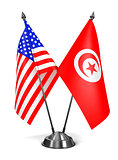 USA and Tunisia - Miniature Flags.