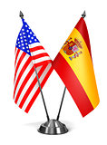 USA and Spain - Miniature Flags.