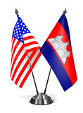 USA and Cambodia - Miniature Flags.